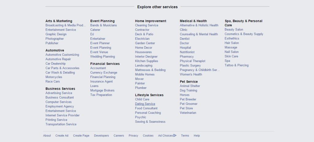 Facebook-Local-Business-Categories-List